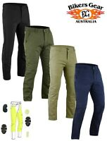 AUSTRALIAN BIKER GEAR Men Chino Motorcycle Trousers Jeans lined DuPont™ Kevlar