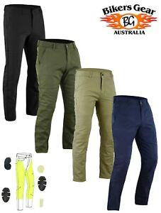 AUSTRALIAN BIKER GEAR Men Chino Motorcycle Trousers Jeans lined DuPont™ Kevlar