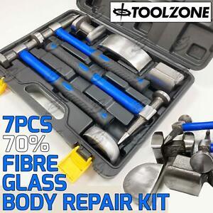 Body Repair Kit Dent Panel Beating 70% Fibre Glass Hammer Dolly 7 Piece Tool Set
