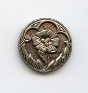 "SUPER WHITE METAL/PEWTER button--VERY DETAILED FLOWER w/LT TINT DESIGN--1 1/16"""
