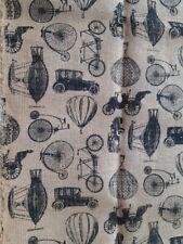 "Burlap Fabric Antique Transportation Bicycle Hot Air Balloon Model T 46 x 38"""