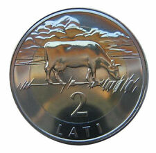 LATVIA very Rare 2 Lati Bi-Metallic coin 2003 the COW COIN, Lion and Griffin BU