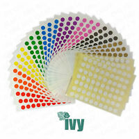 10,500 Sticky Coloured 8mm Labels Dots Circles Self Adhesive - Ten Colours