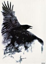 Vogel Schatten Krähe Temporary Temporäre Klebe Einmal Tattoo 15 x 21 cm HB850