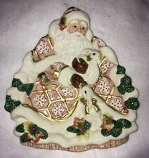 Fitz and Floyd Classics Snowy Woods Santa Serving Plate Christmas Snack Platter