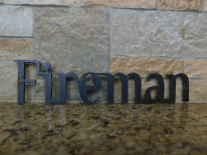 FIREMAN Metal Wall Art Word Quote Sign Decor Steel rustic Arrow Crafts Supplies