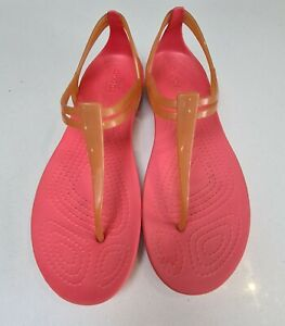 Beautiful Crocs Isabella Size 6 W8 Orange Toe Post Sandals