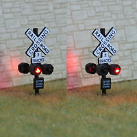 2 x N scale model grade crossing signal light LED made + 1 flasher board #csnBL4