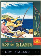 Fishing Bay of Islands New Zealand Vintage Travel Advertisement Art Poster Print