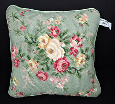 Laura Ashley Needlepoint Cross Stitch Small Green Throw Pillow Floral Flowers Ro