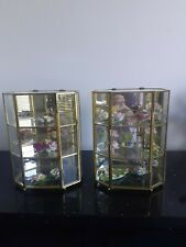***  TW0 x Vintage Glass And Brass Display Cabinets ideal for miniatures ***