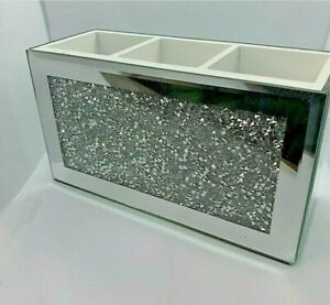 New A Must Mirror Crushed Glass diamante Beauty Box Makeup Brush Crystal Holder