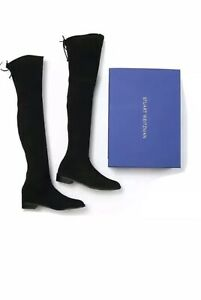 Stuart Weitzman Black Lowland Suede Over-The-Knee Flat Boots SIZE 37.5NEW IN BOX