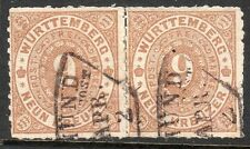 "Wurttemberg, Sc#51, Used pair, VF, ""Gmund"" black fan cxls, Germany"