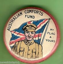 #E. TIN BADGE - AUSTRALIAN COMFORTS FUND, MY FLAG & YOURS