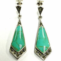 Art Deco Sterling Silver Marcasite & Turquoise Droplet Earrings Hallmarked