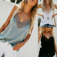 UK Women's Lace Vest Tank Tops Cami Camisole Summer Strappy Top Blouse Shirt
