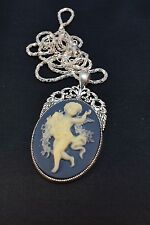 SPECIAL PRICE/ LARGE  VINTAGE STYLE  ANGEL CAMEO  NECKLACE