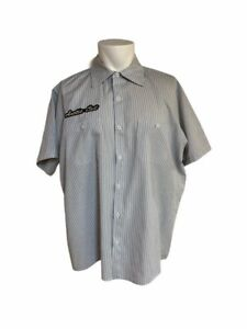 Arctic Cat Dealer Button Up Shirt Large Mechanic White Stripe Shirt W/ Patches