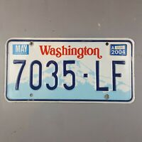 Washington State 1990 to 1998 Vintage License Plate 7035-LF Tab 2004 Boarder