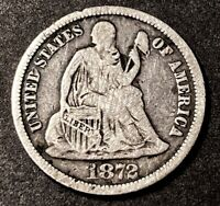 1872 Seated Liberty Silver Dime 10c Collectible Obsolete Us Type Coin