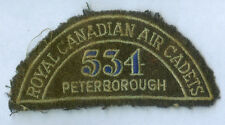 WW2 ROYAL CANADIAN AIR CADETS 534 PETERBOROUGH EMBROIDERED WOOL PATCH INSIGNIA