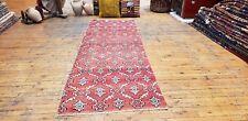 "Primitive Antique 1930-1940s,Wool Pile,2'7""× 7'7"" Natural Dye Tribal Runner Rug"