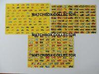 Matchbox Lesney 1-75 all models  Type D, F et G  Poster Shop Sign Advert Leaflet