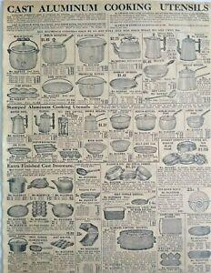 1911 Antique Cast Aluminum Cookware Art Sears Catalog Page Vintage Print Ad