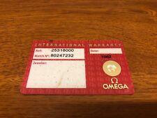 Card 2254.50.00 - Undated Omega Seamaster Watch Warranty