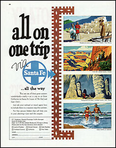 1949 Santa Fe Railroad California Arizona New Mexico vintage art print ad LA9