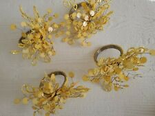 New listing Nwot 4 Beaded Flower Napkin Rings Yellow Spring Gatherings (Loc50