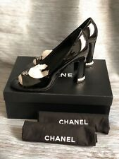 $1075 New 14B Chanel Black Patent Leather PEARLS CC Peep Open Toe Heels Sz 40 9