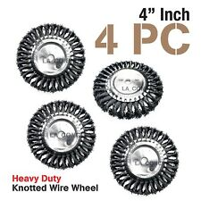 """4 Pieces Knotted Wire Wheel 4"""" X 5/8"""", Brush Paint Removal 10000 RPM"""