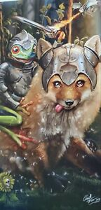 Fox and Frog riding knights  and dragonfly woods forest animals art print