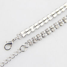 2 Row Diamante/Diamond Ladies Waist Chain/Charm Belt in Silver-One Size Fits All