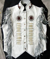 Men's Western wear White Cowhide Leather Vest Fringes braid around beads bones