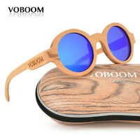 hommes femmes bambou polarisé lunettes de soleil Rond Hêtre bois lunettes