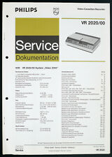PHILIPS VR-2020/00 Original Videorecorder Service-Manual/Diagram/Parts List o212
