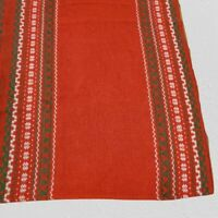 """Vintage 70s 80s Christmas Tablecloth Rectangle Red 78"""" long x 56"""" Wide"""