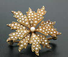 Flower Burst Seed Pearl Brooch Pendant Antique 14K Solid Yellow Gold Layered