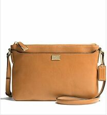 NWT COACH MADISON LEATHER EAST WEST SWINGPACK GOLD BURNT CAMEL F49992
