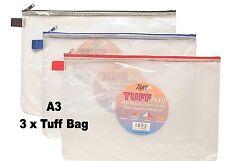 3 x A3 Tuff Bag Heavy Duty ARCHIVIAZIONE DOCUMENTI Portafoglio CUSTODIA IMPERMEABILE 29 CM x 42 cm