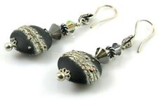 Long Dangle Black and Silver Earrings Lampwork Glass and  Crystal