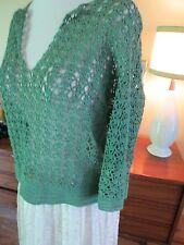 Vtg 70s Boho Retro Crochet  Hand Made  Top Green Pullover Pretty!  Small