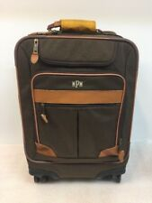 LL BEAN Sportsman's Canvas / Leather Trim Rolling Carry On Suitcase Luggage Bag