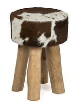 'CASA UNO' NEW Brown & White Cow Hide Round Stool with Wooden Legs   RRP $259.95