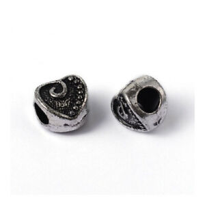 Wholesale Antique Silver Acrylic Beads Puffy Heart 11x12mm 4 Packs Of 10