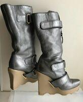 LOUIS VUITTON Winter Boots, Sheep Fur 36 (US 5,5) Rare, Podium, Wedge, Authentic