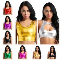 Womens Fashion Shiny Metallic Scoop Neck Tank Crop Top Vest Bustier Blouse Shirt